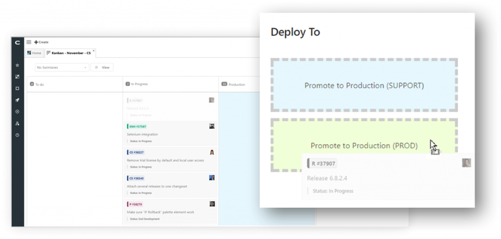 clarive deploy from kanban