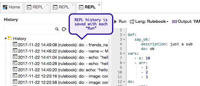 clarive repl history rulebook